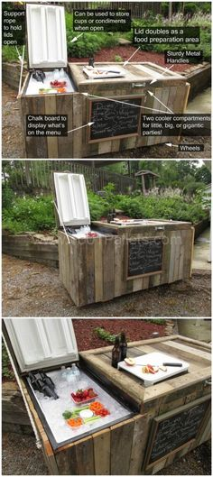Here's a cute cooler idea! http://www.1001pallets.com/2015/09/diy-rustic-cooler-from-broken-refrigerator-and-pallets/