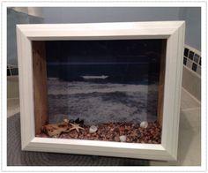 Beach theme shadow box, for more info to purchase  @Etsy: Seashellcreation1 , (custom made) seashell_creation@yahoo.com