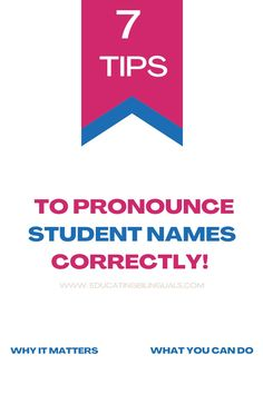 The Importance of pronouncing student names correctly. Every name has a history. #studentnames #esl #teachers #respectcultures #educatingbilinguals Teach English To Kids, Teaching English, First Day Of Class, How To Pronounce, English Language Learners, Second Language, New Names, New Students, Letter Sounds