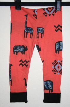 Baby Leggings Toddlers in Orange Tribal by SewPriorAttireMitten, $16.00