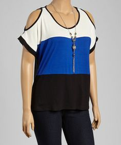 Another great find on #zulily! Blue & Black Color Block Cutout Top - Plus by Libian #zulilyfinds