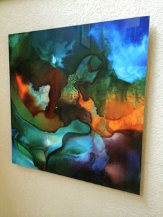Float Mount Dye Infused Abstract Water Scene by SchadStudio