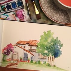 Another watercolor house without lines. From life, I drive around until I find a house I like and then paint it! | Samantha C George
