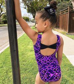 New girls gymnastic leotard purple peace