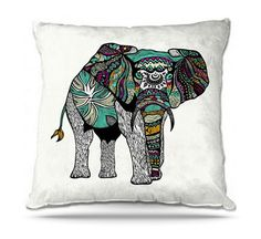 Colorful Aztec Elephant Decorative Throw by PomGraphicDesign