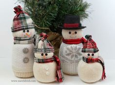 How to make a Snowman Family from old Socks.