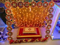 Home Decoration Shops Near Me Refferal: 4265315550 Flower Decoration For Ganpati, Ganpati Decoration Design, Mandir Decoration, Ganapati Decoration, Paper Flower Decor, Diwali Decorations, Stage Decorations, Festival Decorations, Flower Decorations