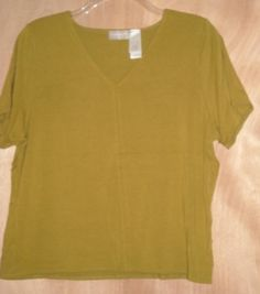Liz Claiborne Yellow Green Rayon Blend Stretch Top Size XL Free Shipping in USA