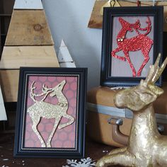 Dollar Store Framed Reindeer Silhouettes — Saved By Love Creations