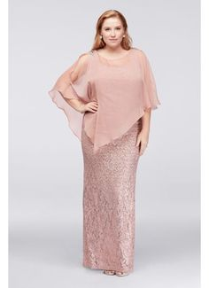 Sleeveless Sequin Lace Plus Size Dress with Caplet 3759DW