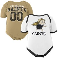 Gerber New Orleans Saints Newborn Buddies 2-Pack Onesie Set - White/Old Gold