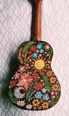 DIY Inspiration - beautiful ukulele art with colorful beaded appliques from sanjanachatterjee on vsco! Guitar Painting, Guitar Art, Painting & Drawing, Music Guitar, Arte Do Ukulele, Ukulele Songs, Ukulele Chords, Painted Ukulele, Mellow Yellow