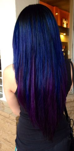 Black, Blue, and violet hair