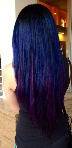 Black, Blue, and violet hair