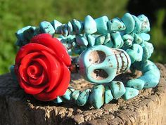 Day of the Dead Wrap Around Bracelet @ donnaelizabethdesign > SkuLL JewELrY  on Etsy