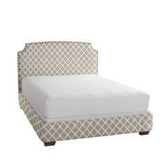 Serena & Lily Bark Diamond Queen Bed w/ natural brass nailhead, dark walnut legs