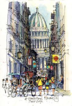 James Richards Sketchbook: Exploring Central Havana on Foot