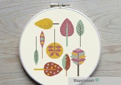 cross stitch pattern leaves retro leaves PDF pattern by Happinesst