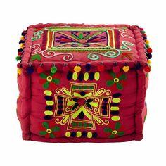 Frida - Pouf multicolore in cotone ricamato con pompon