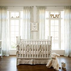 Blue and Taupe Paisley Crib Bedding   Neutral Baby Bedding   Carousel Designs