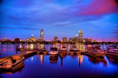 5. The Boston skyline sparkles over the Charles river.