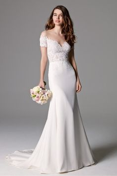 Watters Bridal Seaton gown style Sexy, off the shoulder, fit and flare gown in Chantilly and Heritage Lace on illusion tulle, with a Silk Georgette skirt and gorgeous lace details on the back. Bridal Wedding Dresses, Wedding Suits, Bridesmaid Dresses, Blush Bridal, Lace Wedding, Wedding Dressses, Trumpet Gown, Bridal Separates, Marie