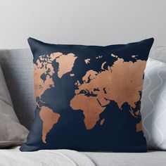 copper home accessories home accessories homeaccessories World map - Navy blue and copper Throw Pillow Copper Living Room Accessories, Blue And Copper Living Room, Yellow Home Accessories, Navy And Copper, Navy Copper Bedroom, Copper Decor Living Room, Copper Room, Copper Accents, Navy And Brown