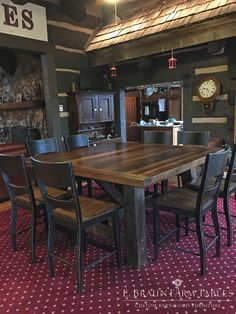 "Been dreaming of a ""man cave""? How about adding a rustic table to play card games and have a drink? Here is a 6' square sawbuck trestle table with a 3"" thick top handcrafted from reclaimed chestnut. Take note of the character of the table top and how the grain of the wood shows through so beautifully. Custom made by E. Braun Farm Tables and Furniture - showroom located in the heart of Amish country, Lancaster County, PA. www.braunfarmtables.com"