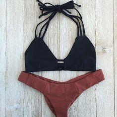 Maui Bikini Top in Noir & Camilla Bikini Bottom in Bronze - Beach Babe Swimwear®