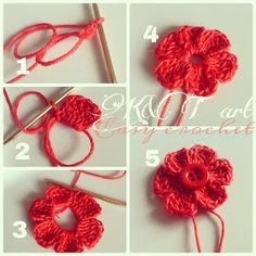 """The difference is in the details"": Easy crochet: Flowers & bows Size 1 - 2.25 mm hook Begin with a magic circle [ Chain 2, work 6 tr, ch 3. sl st into the ring] Repeat sequence in [ ] to form 6 petals. Pull yarn tail to tighten the loop, end off. weave in ends."