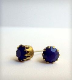 Cobalt Blue Brass Stud Earrings | Women's Jewelry | Phul Effect Jewelry | Scoutmob Shoppe | Product Detail