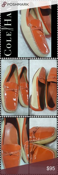 Cole Haan Leather Flats Cole Haan Signature Shoes in Solid Orange and Cream Colors! Gorgeous Bow Detail at Vamp! Made in Brazil, Padded Insole for Extra Comfort, a Cole Haan Classic! Used in Mint Condition! Cole Haan Shoes Flats & Loafers
