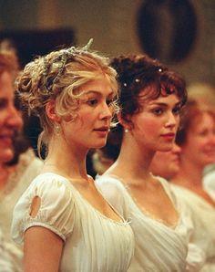 "Rosamund Pike and Keira Knightley as Jane and Elizabeth Bennet respectively in the film ""Pride & Prejudice"". Rosamund Pike, Keira Knightley, Bennet Sisters, Little Dorrit, Fantasy Magic, Pride And Prejudice 2005, Image Film, Jane Austen Novels, Mr Darcy"