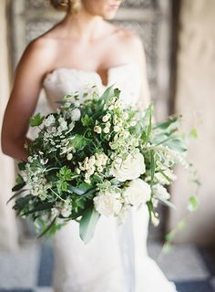 Gorgeous white and green bouquet