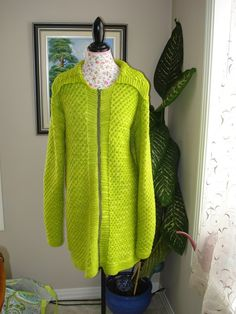 Ready to ship/Handmade Knitted Apple Green Coat/ Cardigan by ufer, $222.00