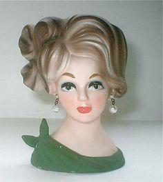 Napcoware Lady Head Vase Porcelain Ceramic Vintage Fancy Updoo 60s Drop Pearl Earrings 4.5 Inch Kitsch Modern Girl Japan Fashion Woman Label