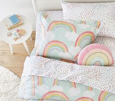 For a bright and happy sleep space, deck out their bed in the Rainbow Skies Bedding Look. Designed with tons of color, this bedding is the softest they'll sleep on. DETAILS THAT MATTER Blanket, Duvet and Shams Rainbow Bedding, Rainbow Bedroom, Rainbow Room Kids, Teen Girl Bedrooms, Big Girl Rooms, Boy Rooms, Kids Rooms, Fantasy Bedroom, Pottery Barn Kids