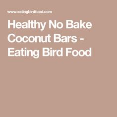 Healthy No Bake Coconut Bars - Eating Bird Food