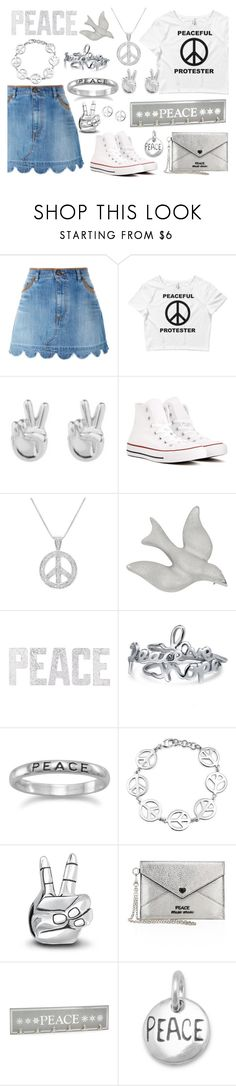 """""""A Peaceful Existence"""" by wearyourdissent ❤ liked on Polyvore featuring RED Valentino, Rock 'N Rose, Converse, Amanda Rose Collection, Coach House, PBteen, Bling Jewelry, Miu Miu, Dainty Edge and peace"""