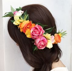 Bright Spring Floral Hair Vine with Orange, Yellow, Pink flowers - vintage - half flower crown - bridal - wedding - bride - flower girl by SHOPLULUINTHESKY on Etsy https://www.etsy.com/listing/500628222/bright-spring-floral-hair-vine-with