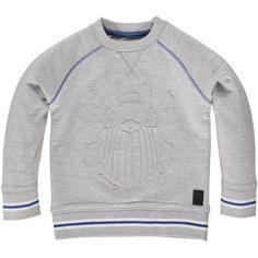 Lichtgrijze pull met kever - Maat 62-86 - SS16 - Boys - Mister Monkey and Misses Butterfly - Tumble 'n Dry