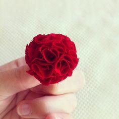 Red MINI Garden Pinks Brooch by TheGentleFlower on Etsy