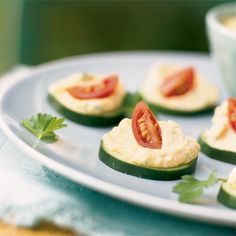 "Cucumber ""Crackers"" with Hummus Looking for a snack without wheat or gluten?   Cukes make replacing crackers a snap"