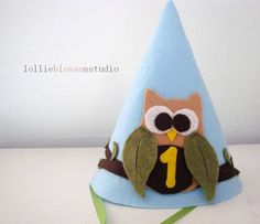 Felt Party Hat, Owl Birthday Party, Boy Party Accessories