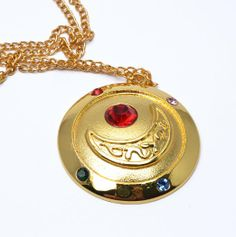 Amazon.com: sunkee Sailor Moon Pretty Guardian Golden Round Moon Necklace: Toys & Games