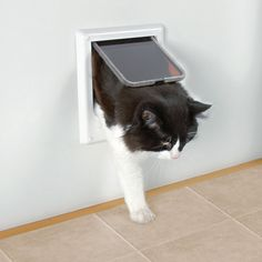 Provide your pets with safe and secure home entry with our trixie electromagnetic 4-way cat door. Your cat wears a small collar magnet (included) that doubles as an identification tag. The innovative