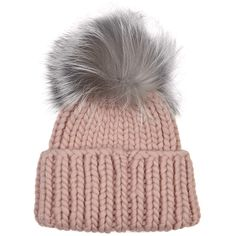 EUGENIA KIM Rain pink fur pompom wool beanie ($270) ❤ liked on Polyvore featuring accessories, hats, pink beanie hat, fur hat, wool hat, fox hats and wool beanie hat