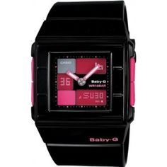 Casio Womens Baby-G BGA200-1E Black Resin Quartz Watch with Pink Dial