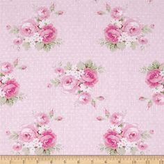 These plump tea roses and blossoms float over a pastel ground covered with polka dots, adding a touch of the Victorian style and essence to this nostalgic floral collection. Groups of flowers are each about 4, Dottie Rose from the Slipper Roses collection by Tanya Whelan for Free Spirit.    36 x 44 wide, 100% Premium Cotton- Lovely to use for clothing, childrens apparel, quilting projects, home decor accessories, fashion accessories. Colors include white, shades of green and shades of pink…