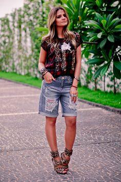0fe03abbe ThassiaNaves_LOFT111_porDiverte-69 Shorts Jeans Feminino, Roupas Casuais,  Roupas Estilosas, Looks Femininos,